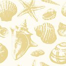 Seashells Pattern 6 - Gold by SamNagel