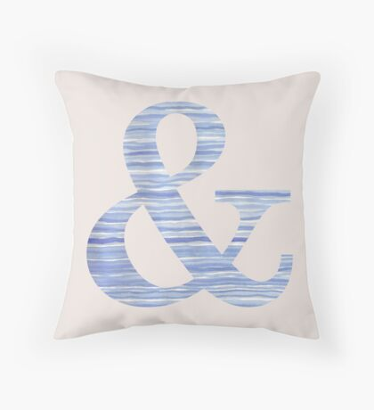Letter & Ampersand Blue Watercolor Stripes Monogram Initial Throw Pillow