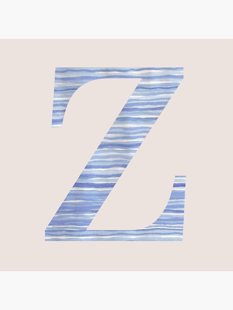 Letter Z Blue Watercolor Stripes Monogram Initial by theartofvikki