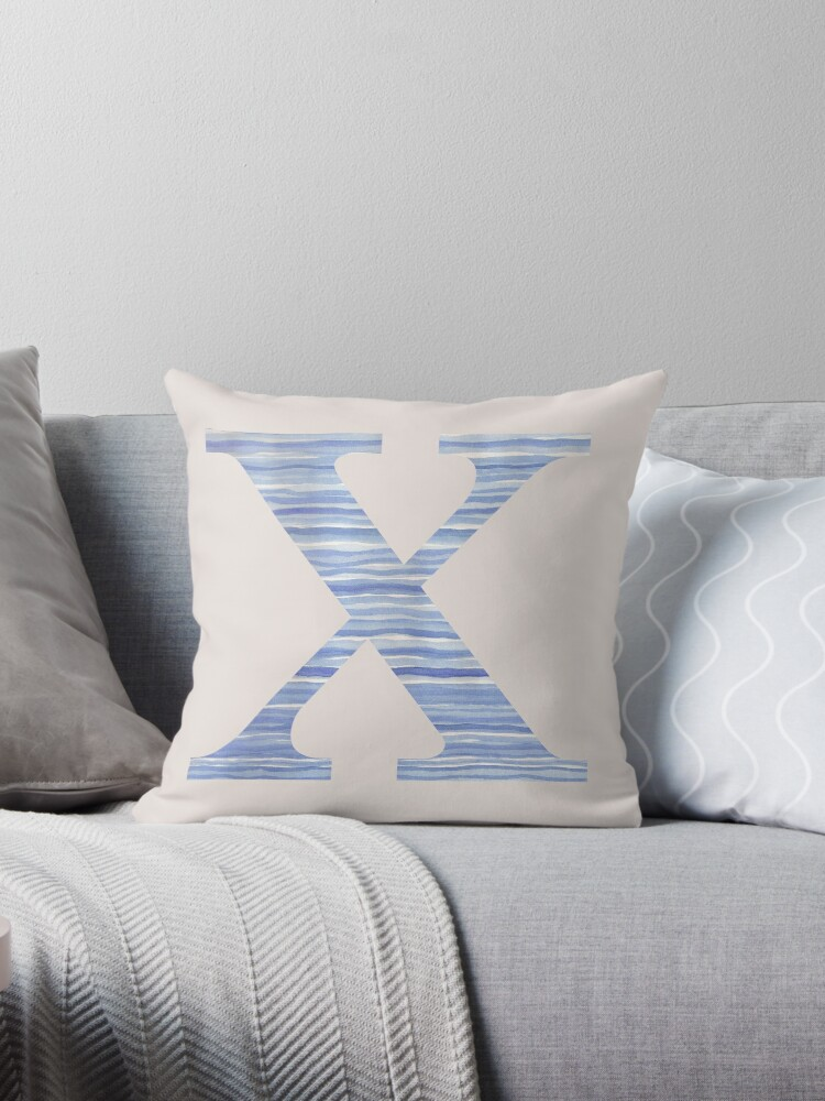 Letter X Blue Watercolor Stripes Monogram Initial by theartofvikki