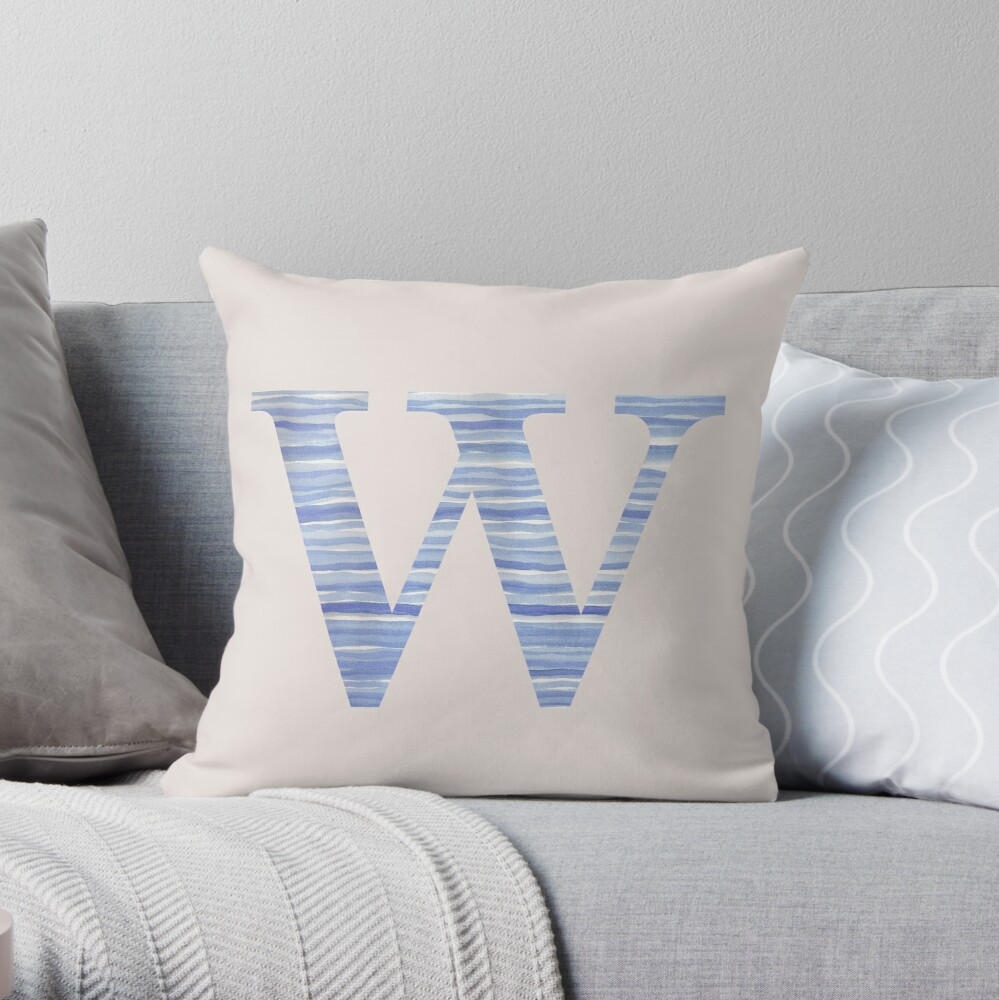 Letter W Blue Watercolor Stripes Monogram Initial Throw Pillow