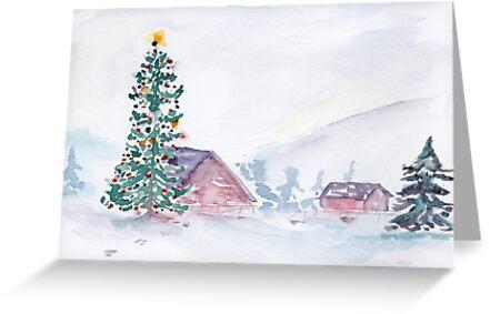Christmas Farm Scene by katiebirdstudio