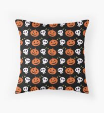 Halloween Jack O Lantern Art, Skull Spooky Art Throw Pillow