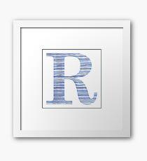 Letter R Blue Watercolor Stripes Monogram Initial Framed Print