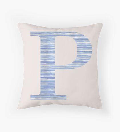 Letter P Blue Watercolor Stripes Monogram Initial Throw Pillow