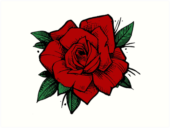 Old School Tattoo Rose Art Prints By One And Only Redbubble