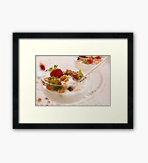 Close up of dessert with strawberries and yogurt Framed Print