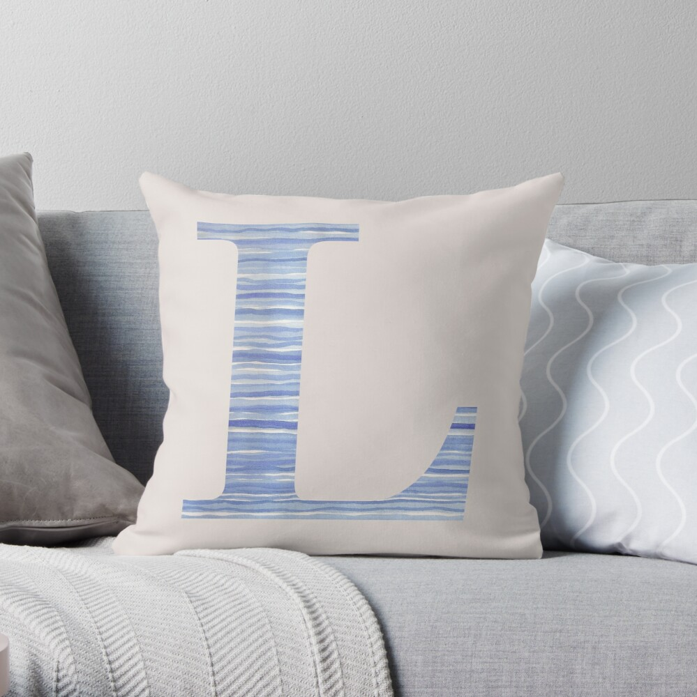 Letter L Blue Watercolor Stripes Monogram Initial Throw Pillow