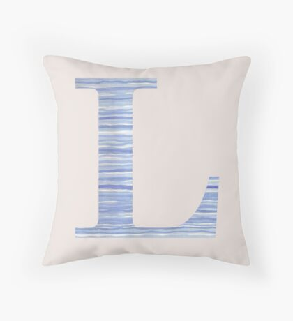 Letter L Blue Watercolor Stripes Monogram Initial Throw Pillow