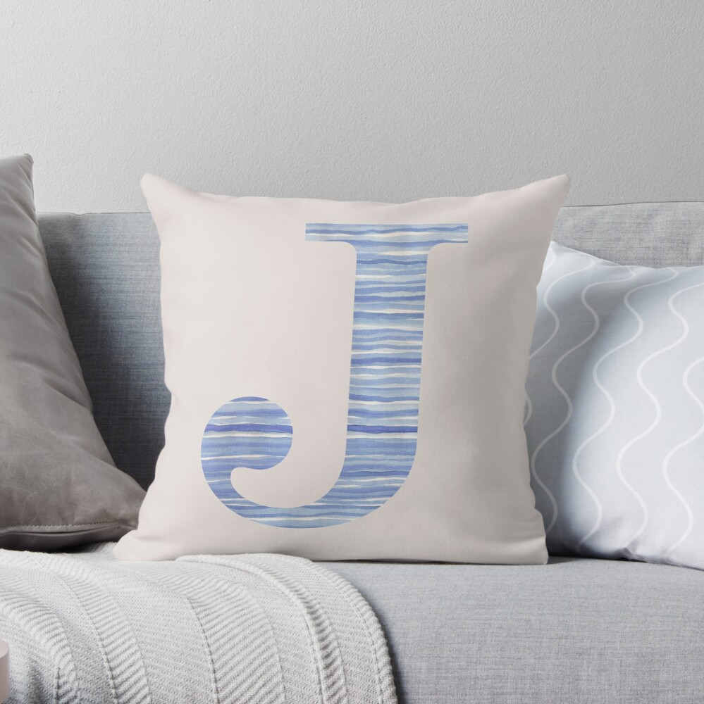 Letter J Blue Watercolor Stripes Monogram Initial Throw Pillow