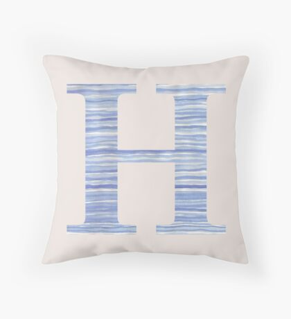 Letter H Blue Watercolor Stripes Monogram Initial Throw Pillow
