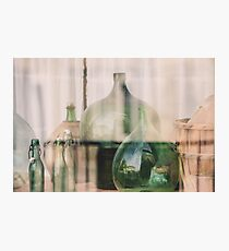 Old empty wine bottles behind the glass Photographic Print