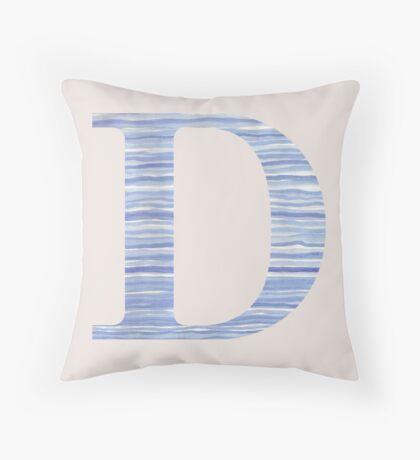 Letter D Blue Watercolor Stripes Monogram Initial Throw Pillow