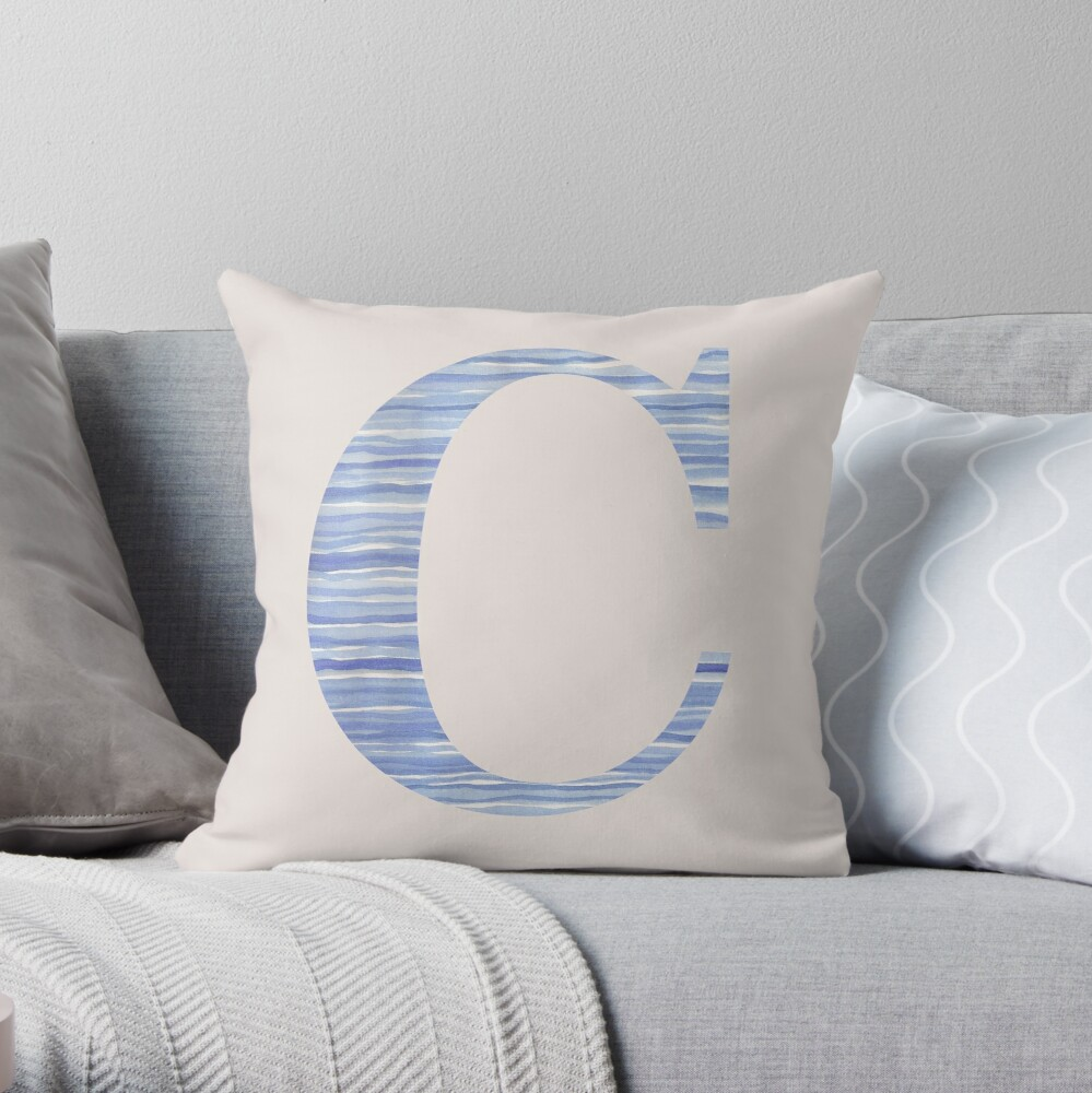 Letter C Blue Watercolor Stripes Monogram Initial Throw Pillow