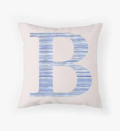 Letter B Blue Watercolor Stripes Monogram Initial Throw Pillow