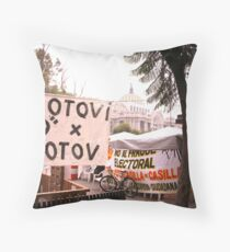 Protests and the Palace de Bellas Artes Throw Pillow