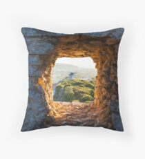 Old Windmill through Window in Fortress Wall Throw Pillow