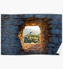 Old Windmill through Window in Fortress Wall Poster