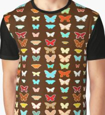 Butterflies, Brown, Turquoise and Coral Graphic T-Shirt
