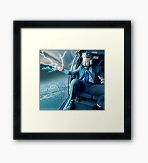 Boris Johnson in a Helicopter Framed Print