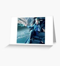 Boris Johnson in a Helicopter Greeting Card