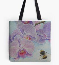 Bee aproaching Phalaenopsis Orchid Tote Bag