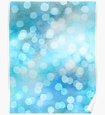 Turquoise Snowstorm - Abstract Watercolor Dots Poster