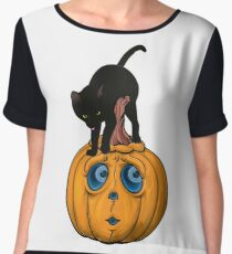 Halloween T Shirt Black Cat And Jack O Lantern Pumpkin Chiffon Top