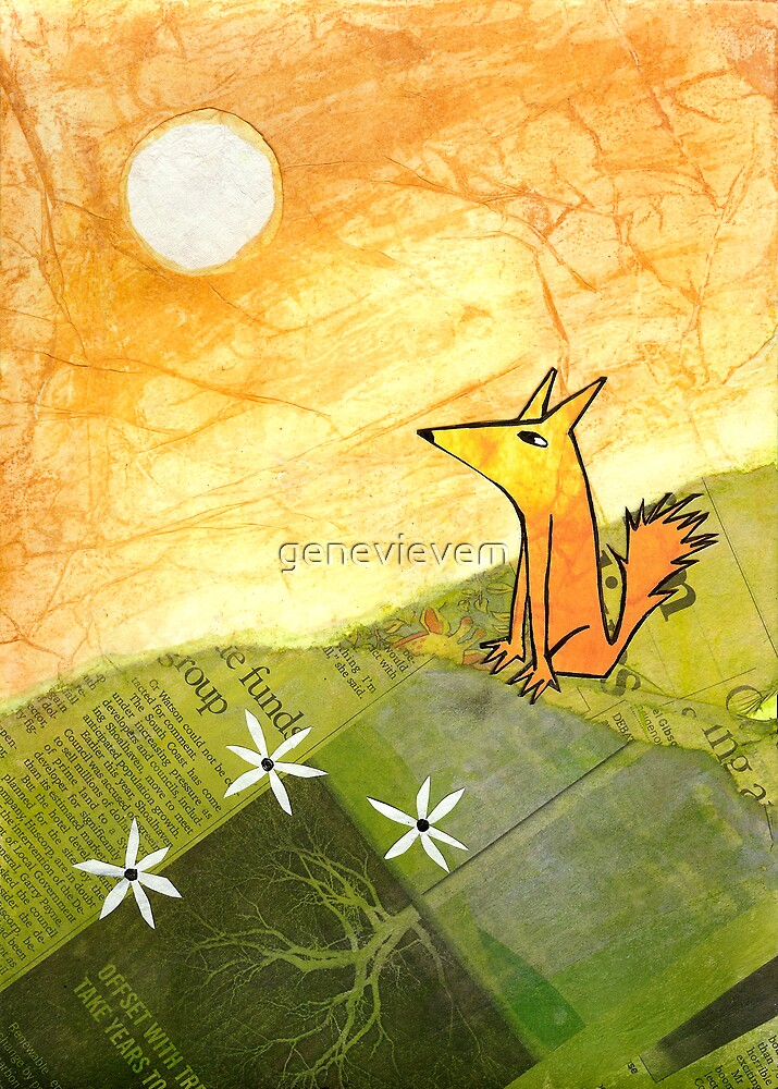 yellow dog on a hill by genevievem