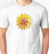 Watercolour and Ink Sunflower Mandala Unisex T-Shirt