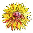 Watercolour and Ink Sunflower Mandala by Anastasiia Kucherenko