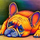 Colorful French Bulldog Rainbow Dog Pet Portrait by Rebecca Wang