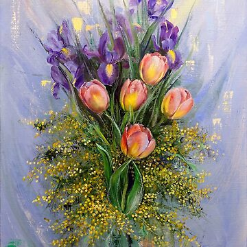 The Gift from Ariel. Irises, Tulips and Mimosa. by Lvova
