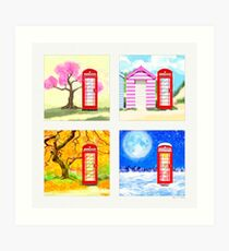 Red British Telephone Box Through The Seasons Art Print