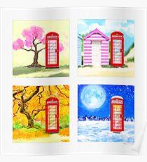 Red British Telephone Box Through The Seasons Poster