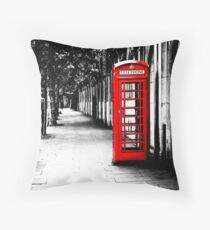London Calling - London Red Telephone Booth - Classic British Phone Box Throw Pillow