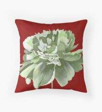 Green Peony against Red Background Floor Pillow