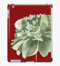 Green Peony against Red Background iPad Case/Skin