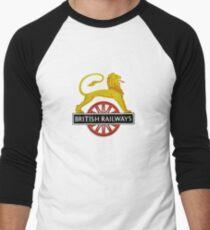 British Railway Lion on Bicycle Emblem Men's Baseball ¾ T-Shirt