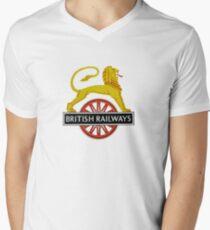 British Railway Lion on Bicycle Emblem Men's V-Neck T-Shirt
