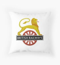 British Railway Lion on Bicycle Emblem Throw Pillow