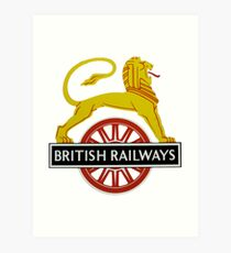 British Railway Lion on Bicycle Emblem Art Print