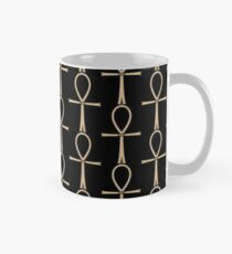 Ancient Egyptian Ankh Symbol of Life in Stone on Black Mug