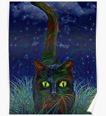 Painted Black Cat Poster
