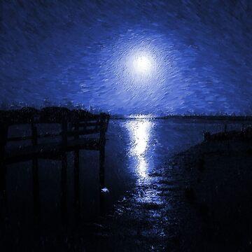 Blue Moon Over Cedar Key by bgaynor