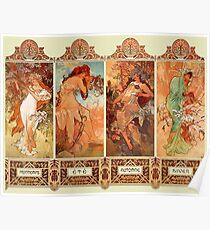 Alphonse Mucha Four Seasons Art Nouveau Poster