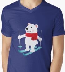 Lets Go Skiing with Mr Polar Bear this Merry Christmas Men's V-Neck T-Shirt