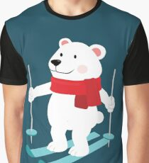 Lets Go Skiing with Mr Polar Bear this Merry Christmas Graphic T-Shirt