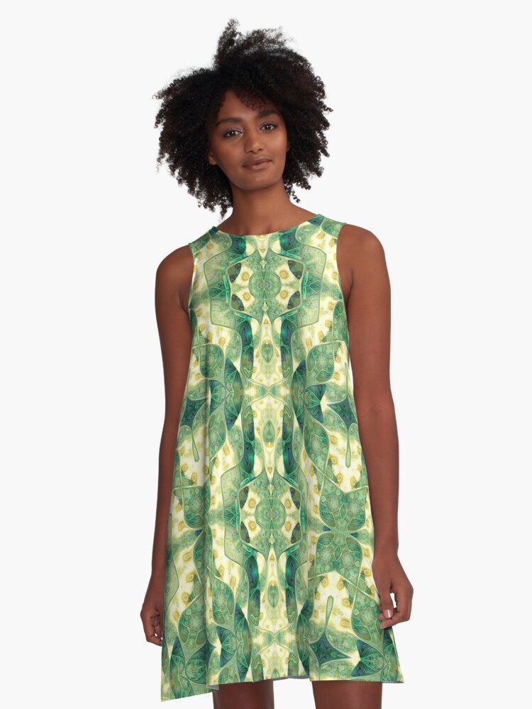 Green Forest Psychedelic Angels A-Line Dress Front