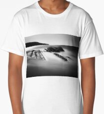 Uncovered Bowling Ball Beach long exposure black and white Long T-Shirt